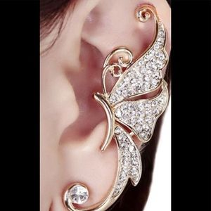 Gold tone butterfly cuff earring